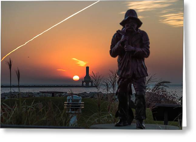 Fisherman Sunrise Greeting Card