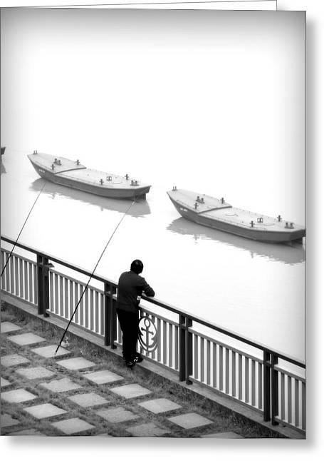 Fisherman Waiting Greeting Card by Valentino Visentini