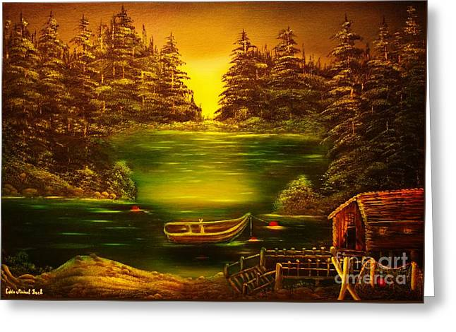 Fishermans Cabin-original Sold- Buy Giclee Print Nr 32 Of Limited Edition Of 40 Prints  Greeting Card by Eddie Michael Beck