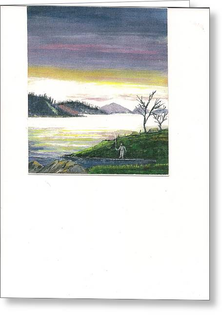 Fisherman's Dream Of Mountains And His Little Corner.           Greeting Card by June Reynolds