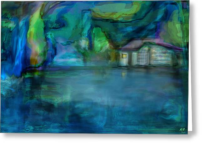 Greeting Card featuring the digital art Fishermans Hut by Martina  Rathgens