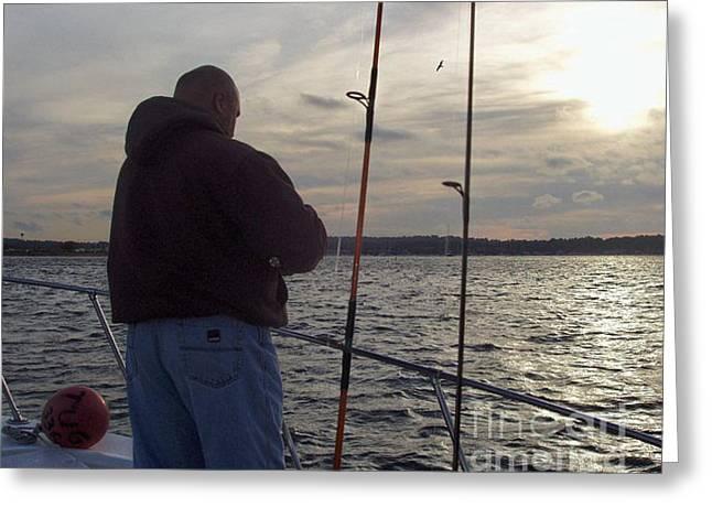 Fisherman's Last Cast Greeting Card by John Telfer