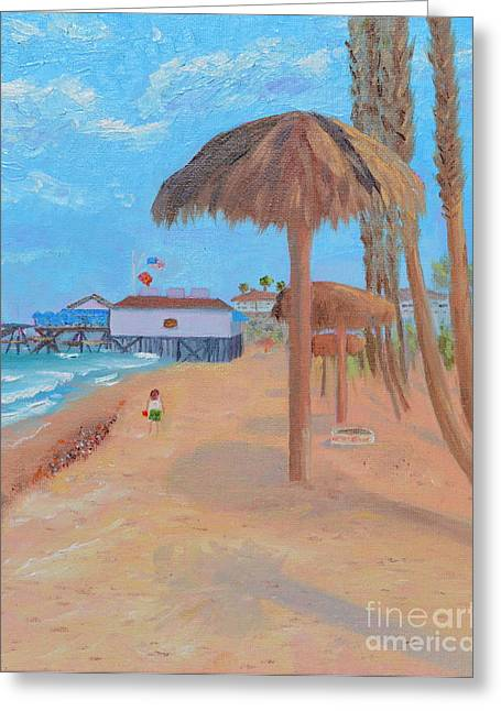 Greeting Card featuring the painting Fisherman's Resturant by Mary Scott