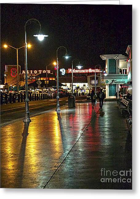 Fisherman's Wharf At Night Greeting Card by Tina Araquistain