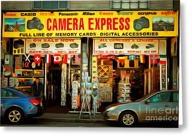 Fishermans Wharf Tourist Shop 7d14096brun Greeting Card by Wingsdomain Art and Photography