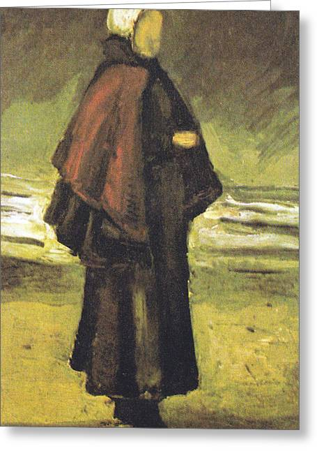 Fishermans Wife On The Beach Greeting Card by Vincent Van Gogh