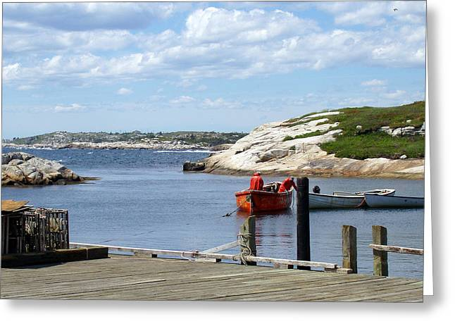 Fishermen At Peggy's Cove Greeting Card by Brenda Anne Foskett