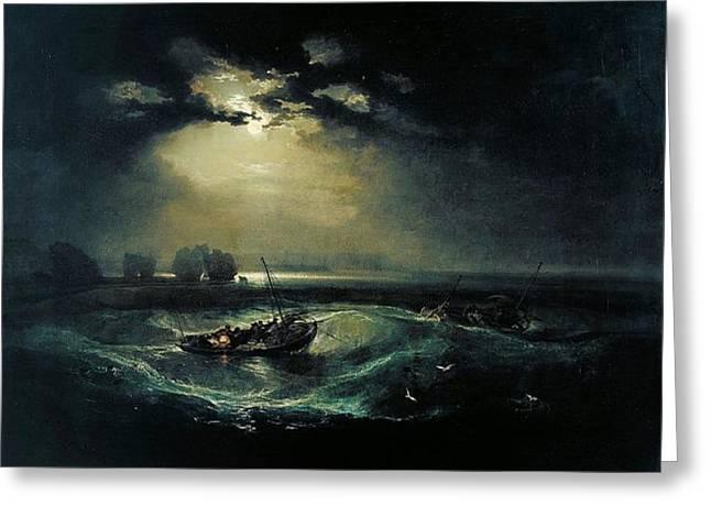 Fishermen At Sea 1796  Greeting Card