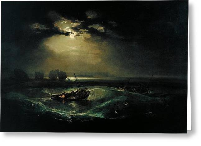 Fishermen At Sea Greeting Card by JMW Turner