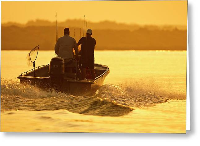 Fishermen Boating Toward The Laguna Greeting Card by Larry Ditto