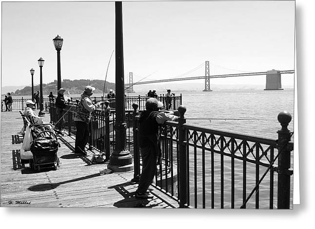 Greeting Card featuring the photograph San Francisco - Fishing At The Pier by Haleh Mahbod