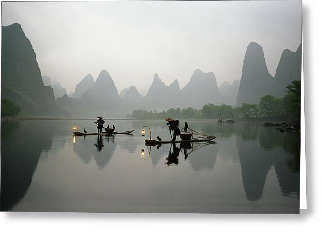Fishermen In China With Cormorant Birds On Li River Greeting Card by King Wu