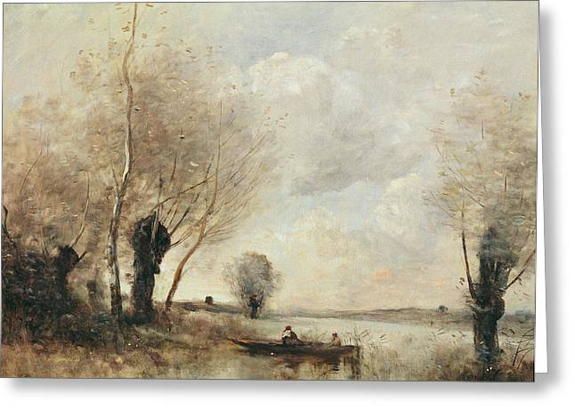 Fishermen Moored At A Bank Oil On Canvas Greeting Card by Jean Baptiste Camille Corot