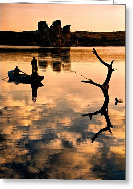 Greeting Card featuring the photograph Fishermen by Okan YILMAZ