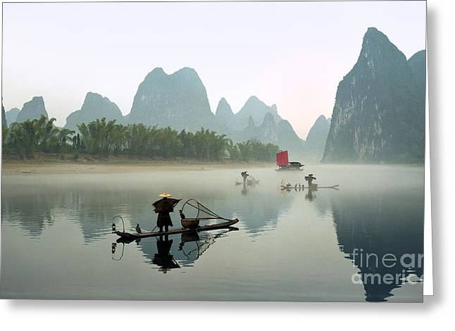 Fishermen On Li River Greeting Card by King Wu