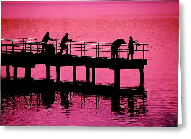 Greeting Card featuring the photograph Fishermen by Raymond Salani III