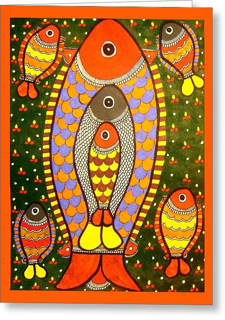 Fishes-madhubani Painting Greeting Card