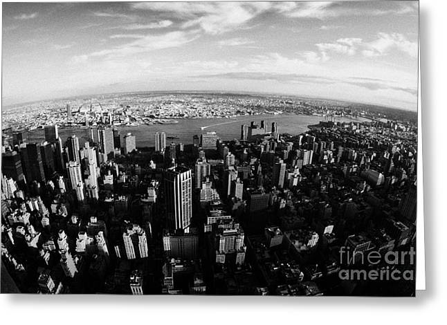 Fisheye Evening View Of Manhattan East Towards East River And Queens New York City Greeting Card by Joe Fox