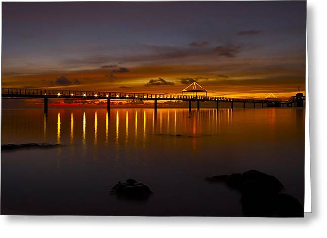 Fisheye Pier  Greeting Card by Brian Governale