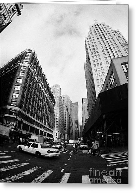 Fisheye Shot Of Yellow Cab On Intersection Of Broadway And 35th Street At Herald Square New York Greeting Card by Joe Fox