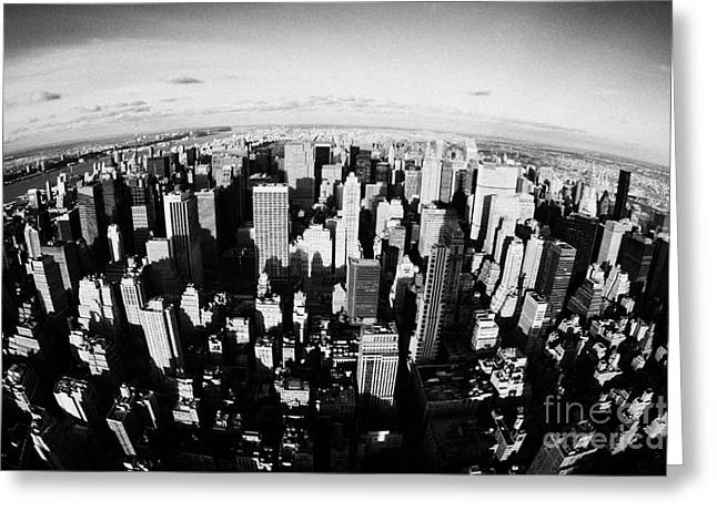 Fisheye View North Towards Central Park Manhattan New York City Usa Greeting Card