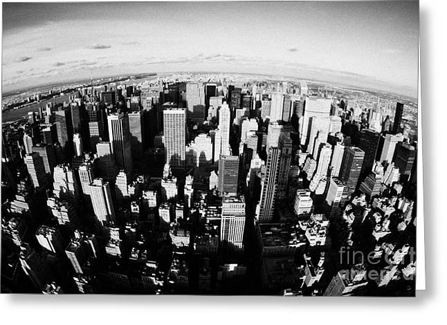 Fisheye View North Towards Central Park New York City Usa Greeting Card