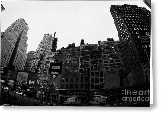 Fisheye View Of 34th Street From 1 Penn Plaza New York City Usa Greeting Card by Joe Fox