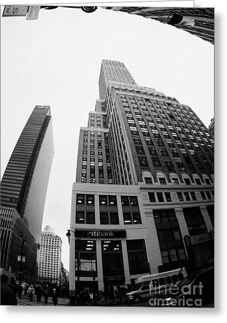 fisheye view of the Nelson Tower and 1 penn plaza in the background from junction of 34th street and Greeting Card