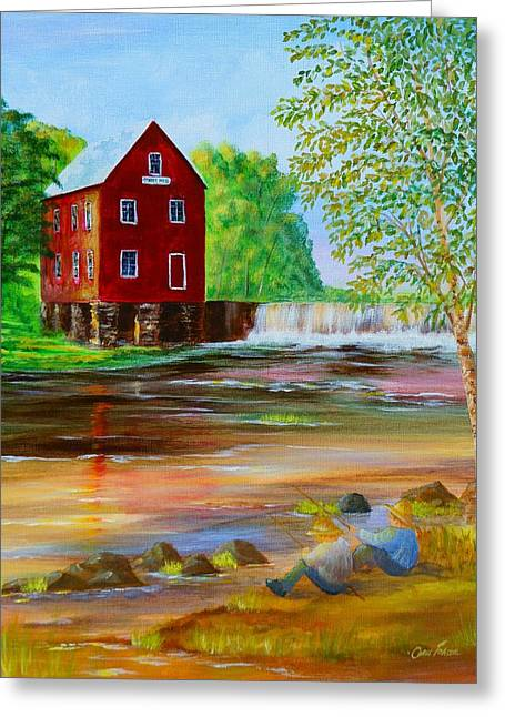 Greeting Card featuring the painting Fishin' At The Old Mill by Chris Fraser