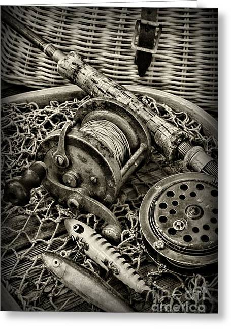 Fishing - All That Gear In Black And White Greeting Card by Paul Ward