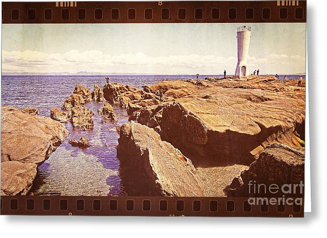 Fishing At Noon By The Lighthouse Greeting Card by Beverly Claire Kaiya