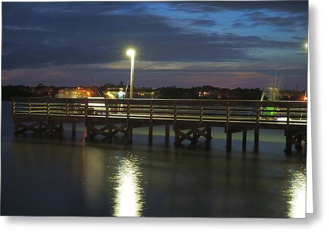 Fishing At Soundside Park In Surf City Greeting Card by Mike McGlothlen