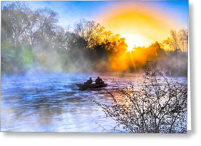 Fishing At Sunrise On The Flint River Greeting Card by Mark E Tisdale
