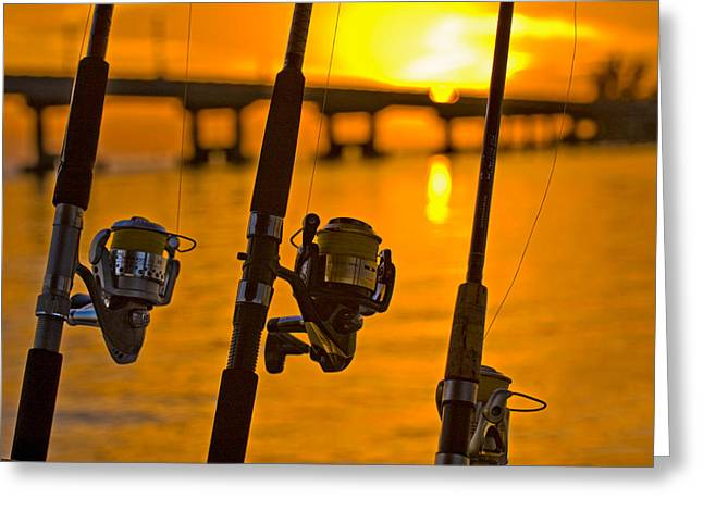 Rods And Reels At Sunset On San Carlos Pass Greeting Card by Ginger Wakem
