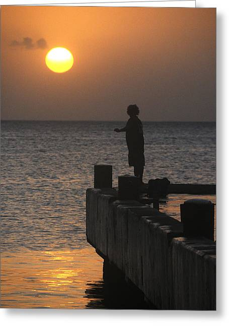 Greeting Card featuring the photograph Fishing At Sunset by Paul Miller