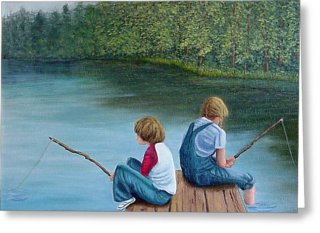 Fishing At The Lake Greeting Card