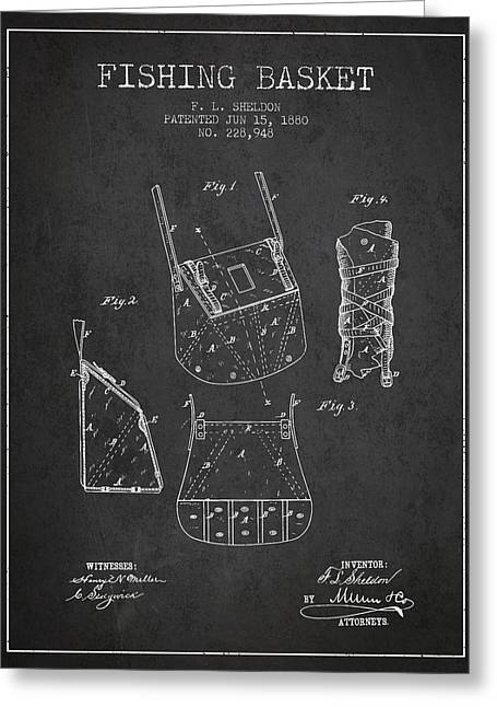 Fishing Basket Patent From 1880 - Charcoal Greeting Card by Aged Pixel