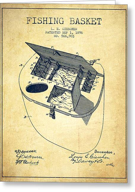Fishing Basket Patent From 1896 - Vintage Greeting Card by Aged Pixel