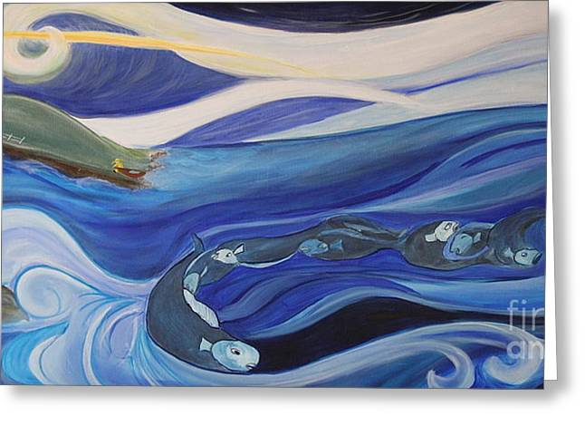 Fishing Before A Storm Greeting Card by Teresa Hutto