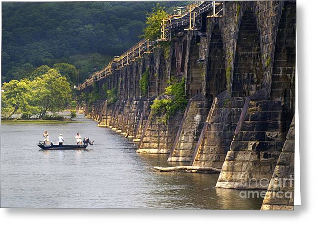 Fishing Below The Rockville Greeting Card by Paul W Faust -  Impressions of Light