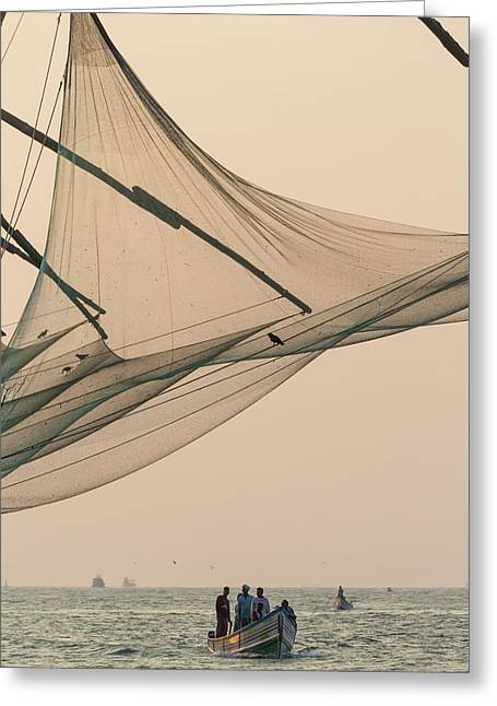 Fishing Boat And Chinese Fishing Nets Greeting Card by Peter Adams