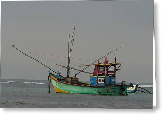 Fishing Boat At Anchor, Matara Greeting Card by Panoramic Images