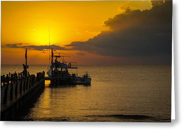 Greeting Card featuring the photograph Fishing Boat At Sunset by Phil Abrams
