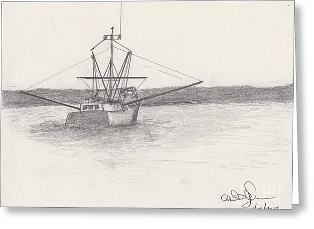 Fishing Boat Greeting Card by David Jackson