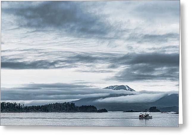 Fishing Boat In Ocean With Reddit Greeting Card by Panoramic Images