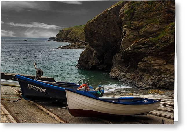 Fishing Boat Launch The Lizard Greeting Card by Martin Newman