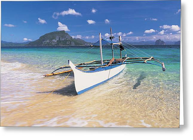 Fishing Boat Moored On The Beach Greeting Card by Panoramic Images