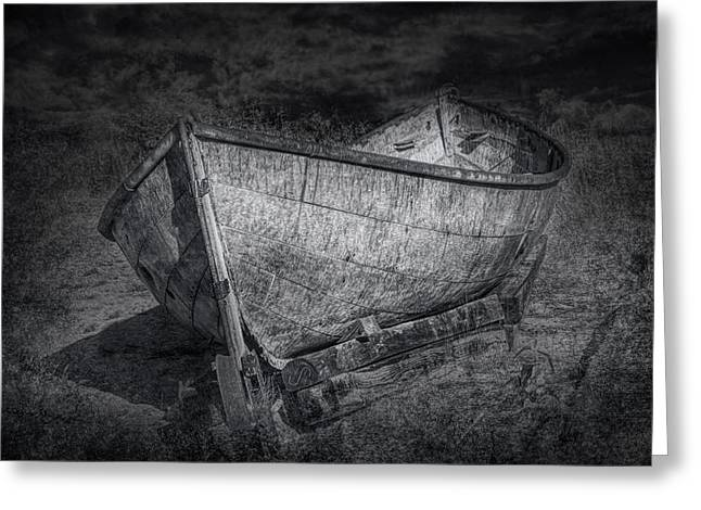 Fishing Boat On Shore In Black And White Greeting Card by Randall Nyhof