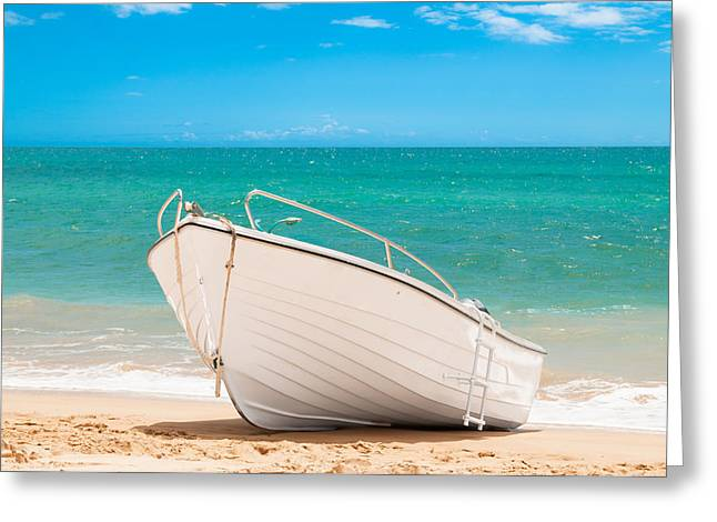 Fishing Boat On The Beach Algarve Portugal Greeting Card