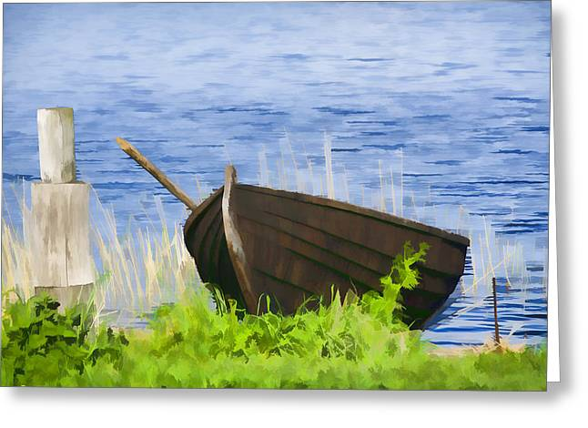 Fishing Boat On The Volga Greeting Card by Glen Glancy